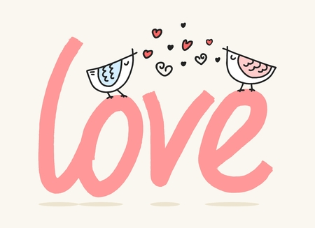 Two lovely birds sitting and singing above love word. Cute cartoon valentines day flat vector illustration Vectores