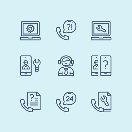 Outline Support, service, help simple line icons for web and mobile design pack 4 Vettoriali