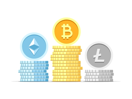 Bitcoin, Litecoin and Ethereum crypto coins in three stacks isolated on white background. Vector flat concept modern illustration