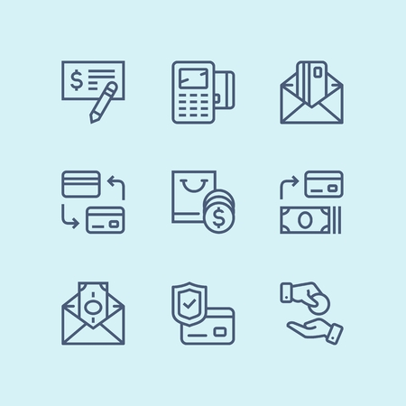 Outline Payment, money, finance, card and cash vector line icons for web and mobile design pack 3