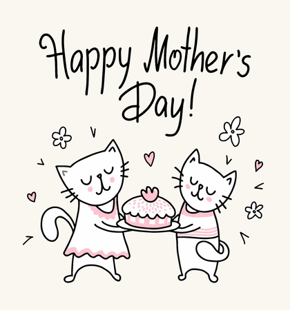 Happy Mother`s Day card with two kids and cake. Vector flat funny animal cartoon illustration