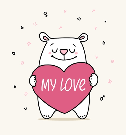 Happy Valentine`s Day greeting card with cute happy white bear hugs big pink heart with love words. Cartoon vector flat animal illustration