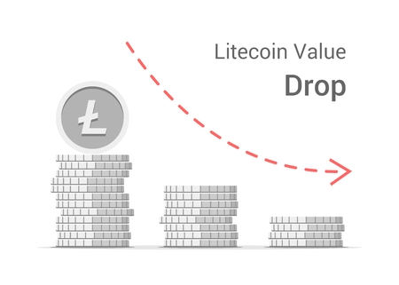 Litecoin value drop concept illustration isolated on white background. Stacks of silver vector flat coins