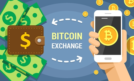 Colorful flat vector illustration of cryptocurrency bitcoin exchanging on dollar cash. Mobile phone holded by human hand with bitcoins transferring into the wallet and back Illusztráció