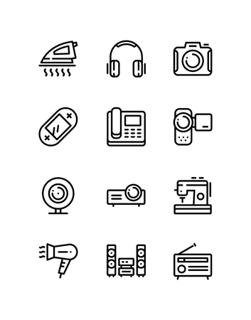 Household electronic appliances, technics, gadget device icons for web and mobile design pack 3 Vector Illustratie