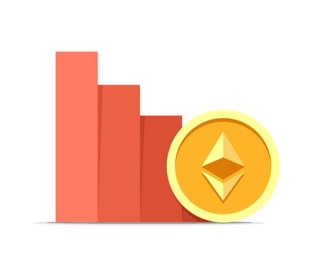 Ethereum value drop concept illustration isolated on white background. Vector flat cryptocurrency coin