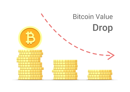 Bitcoin value drop concept illustration isolated on white background. Stacks of gold vector flat coins Illusztráció