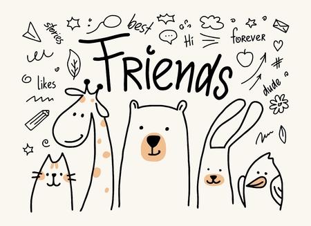 Fünf Tiere Freunde Vektor niedliche flache Illustration. Karikaturkarte mit Katze, Bär, Giraffe, Kaninchen und Vogel