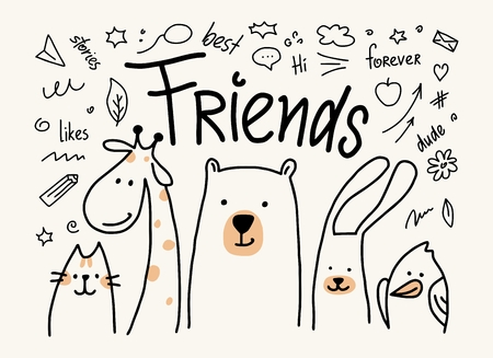 Five animals friends vector cute flat illustration. Cartoon card with cat, bear, giraffe, rabbit and bird