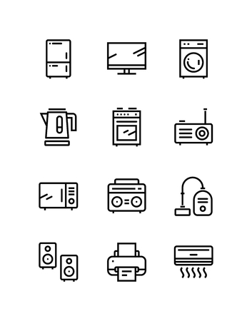 Household electronic appliances, technics, gadget device icons for web and mobile design pack
