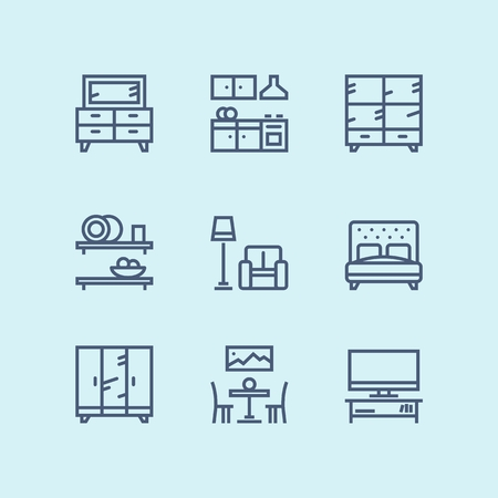 Outline Furniture, decor, interior vector simple icons for web and mobile design pack Vectores