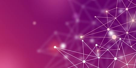 Blockchain cripto futurista abstracto. Puntos blancos y formas en triángulos. Concepto de tecnología digital moderna para banner o diseño web