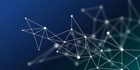 Abstract futuristic crypto blockchain. White dots and shapes in triangles. Modern digital technology concept texture for banner or web design