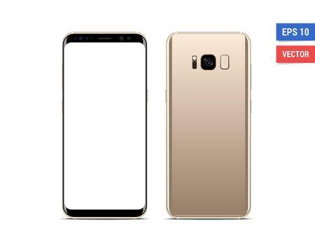 Realistisches Vektorflachmodell-Smartphone mit leerem Bildschirm isoliert auf weißem Hintergrund. Bild beliebig skalieren image