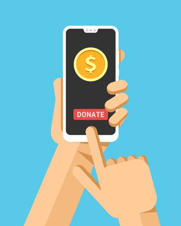 Hand holds the smartphone. Donate money online operation. Flat vector modern phone mock-up illustration