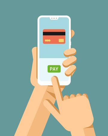 Hand holds the smartphone. Financial operation with credit card. Flat vector modern phone mock-up illustration Vector Illustratie