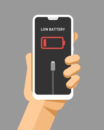 Hand holds the smartphone mockup with low battery. Flat vector modern phone mock-up illustration