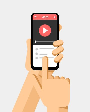 Hand holds the smartphone and watching a video clip on the screen. Flat vector modern phone mock-up illustration Ilustração