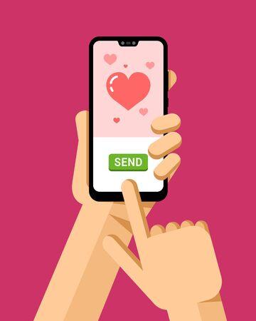 La mano sostiene el teléfono inteligente. Tarjeta de amor de felicitación en línea en la aplicación móvil. Ilustración de maqueta de teléfono moderno vector plano Ilustración de vector