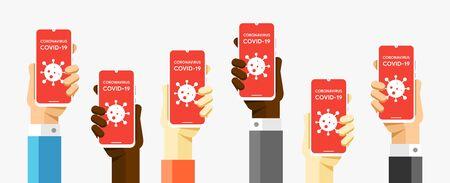 Smartphone mockup in human hands. COVID-19. Epidemic all over the World. Coronavirus Symptoms. Vector EPS10 Ilustración de vector
