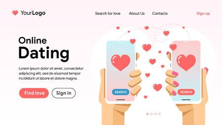 Online dating and love search. Find a couple via smartphone in the network. Phone in hand with love application and a lot of hearts. Landing page vector banner. EPS 10 Иллюстрация