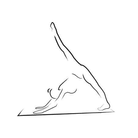 aerobics class: girl on a white background. Silhouette drawn by hand