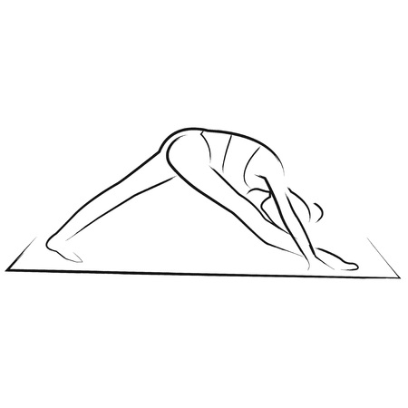 aerobics class: Women in yoga pose stretching on white background isolated vector hand-drawn silhouette