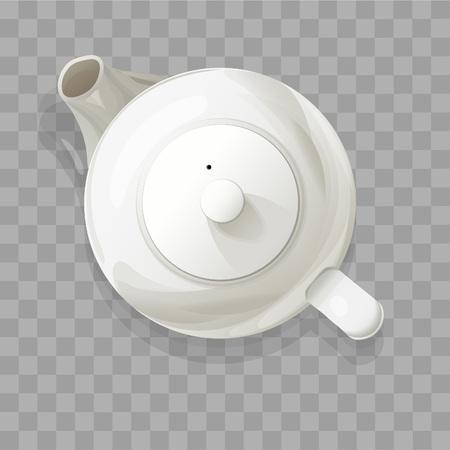 Realistyczny czajniczek z góry na białym tle ilustracji wektorowych.