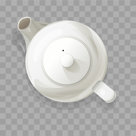 Realistic teapot from top isolated vector illustration.