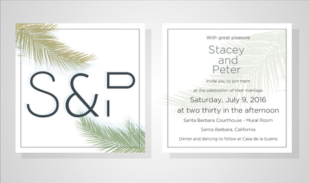 Wedding Invitation, floral invite thank you, rsvp modern card Design: green tropical palm leaf greenery eucalyptus branches decorative wreath and frame pattern. Vector rustic template.