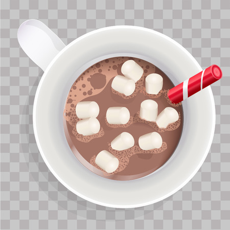 Hot chocolate. Decorative vector illustration red cup with cocoa and marshmallows. Christmas greeting card design element. Isolated vector illustration on white background. Çizim