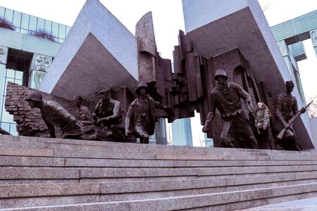 Warsaw Uprising Monument in Poland is a 33 foot tall bronze sculputre dedicated to the Warsaw Uprising of 1944. It depicts fighters in combat under the ruins of a falling building.