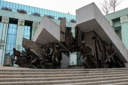Warsaw Uprising Monument, a 33 foot tall bronze sculputre dedicated to the Warsaw Uprising of 1944, depicts fighters in combat under the ruins of a falling building. Sajtókép