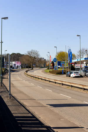 Pariser Strasse, a normally busy street in Kaiserslautern, Germany, during the middle of the week during the  COVID19 quarantine.