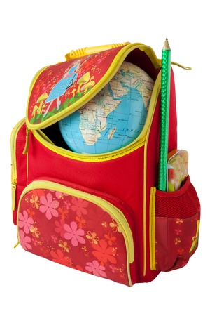 schooling: Whole world knowledge in a school bag  Globe in a red school bag  Isolation on white