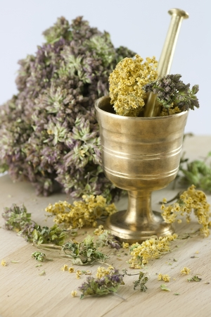 morter: Mortar with dry herbs on the table  Focus on the front  Stock Photo