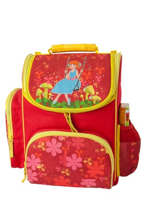 Red school backpack with yellow handles and zipper  Isolation on white  photo