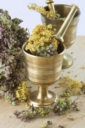 morter: Two mortars with dried herbs on the table  Focus on the front  Stock Photo