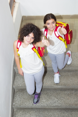 Ten year old twin sisters go to school  Top view photo