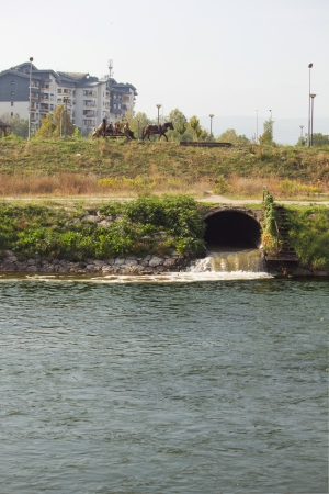 Eco disaster, polluting the river  River Vardar, Skopje, Macedonia photo