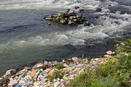 Eco disaster, polluting the river  River Vardar, Skopje, Macedonia