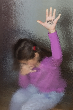 Domestic and family violence  Little girl asking for help  Look through the glass