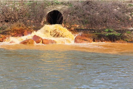 Pollution of Water. Chemical and Biological Contamination. Eco Disaster. Stock Photo