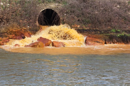 polluted river: Pollution of Water. Chemical and Biological Contamination. Eco Disaster. Stock Photo