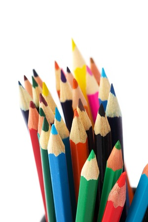 Wooden Color Pencils Isolated on a White Background. Diversity Concept. Selective focus. photo