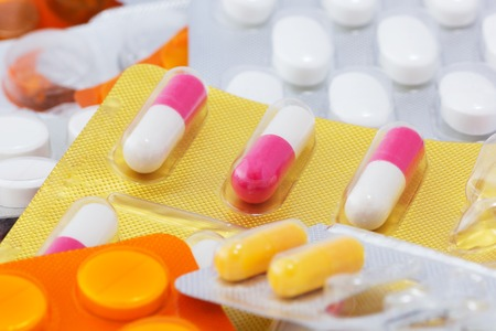 A Macro of Empty Blister, Medicines, Capsules and Tablets. Medical Background.