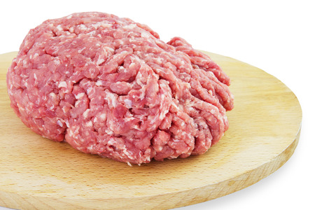 Raw Minced Meat. Isolated on a White Background. photo