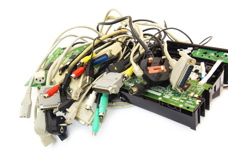 Bunch of Computer Cables with Sockets on White Background. Banco de Imagens