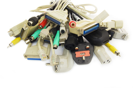 Bunch of Computer Cables with Sockets on White Background. Stock Photo