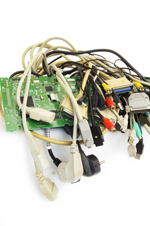 Bunch of Computer Cables with Sockets on White Background. photo